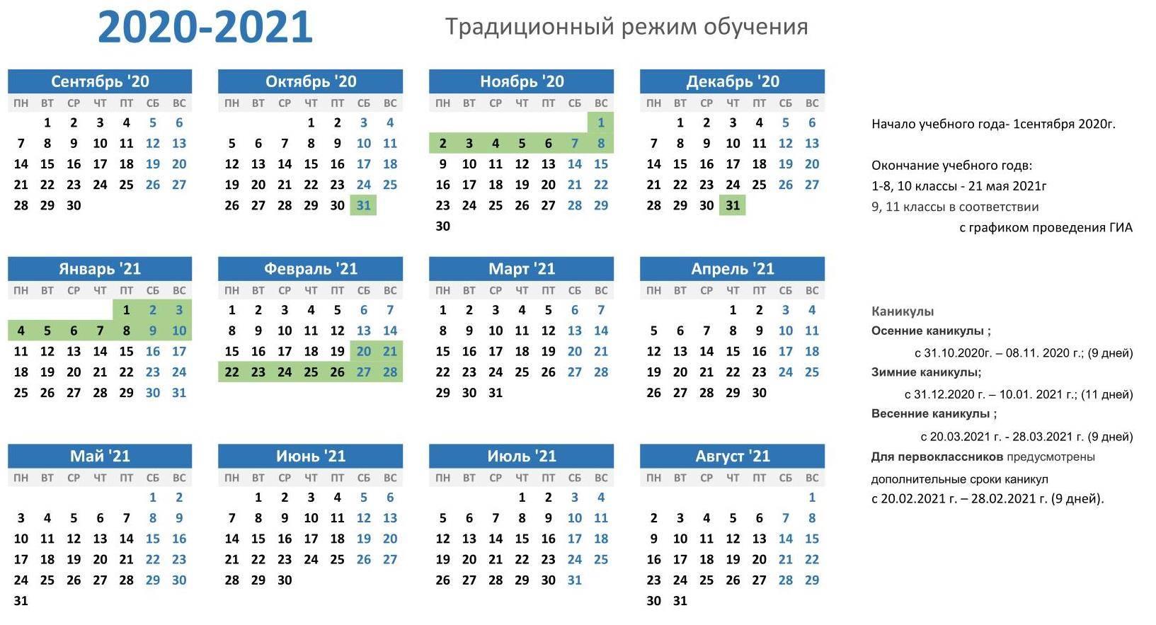Школьные каникулы в 2020-2021 учебном году в россии   для школьников