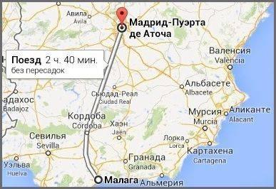 Расстояние между мадридом и малагой