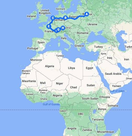 Карта-схема дорог берлин париж