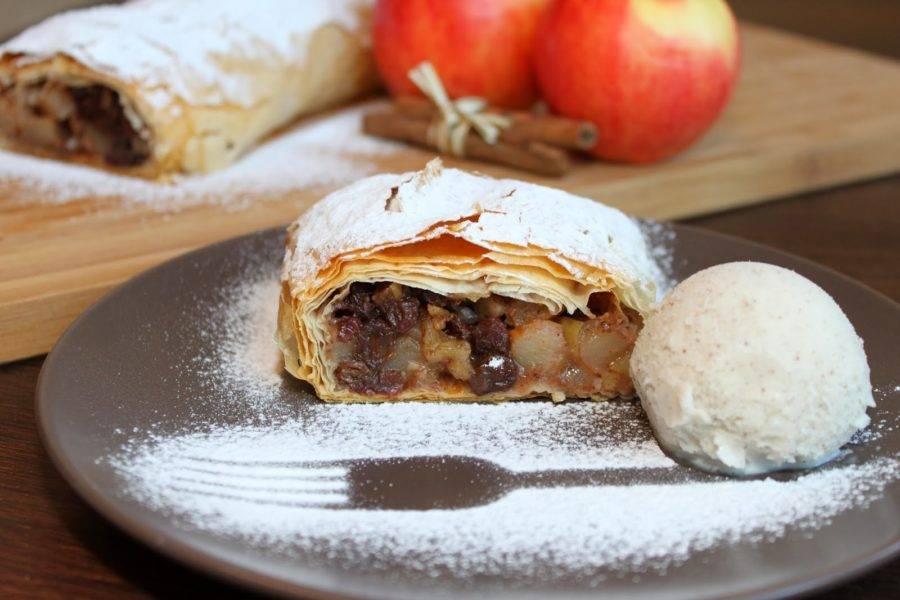 Яблочный штрудель, немецкий рецепт-пошагово в картинках.