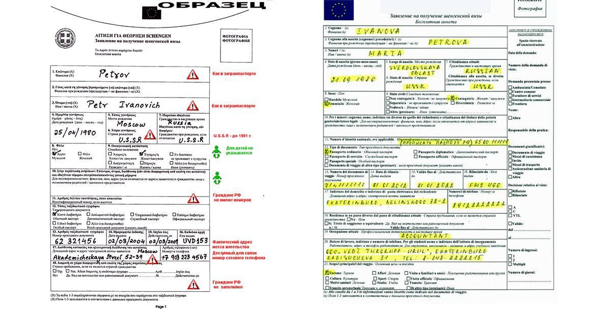 Этапы и образец заполнения анкеты для получения шенгенской визы в испанию