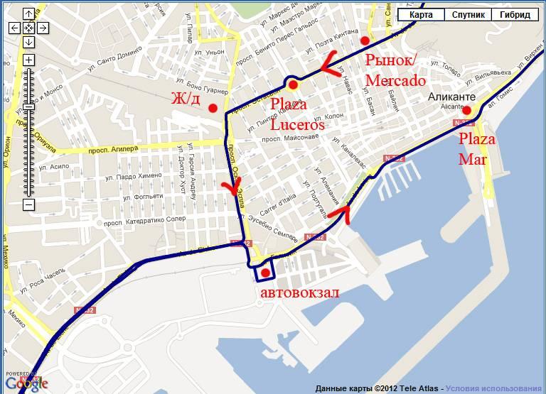 Карта от аликанте до малаги