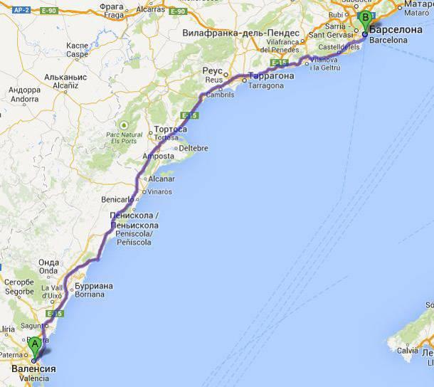 Карта от барселоны до малаги
