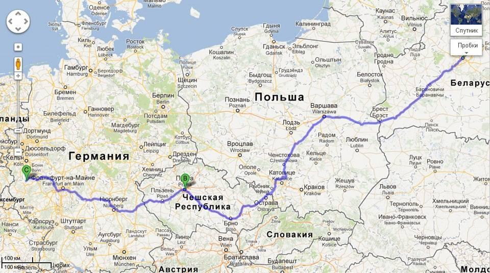 Расстояние между франкфуртом-на-майне и прагой