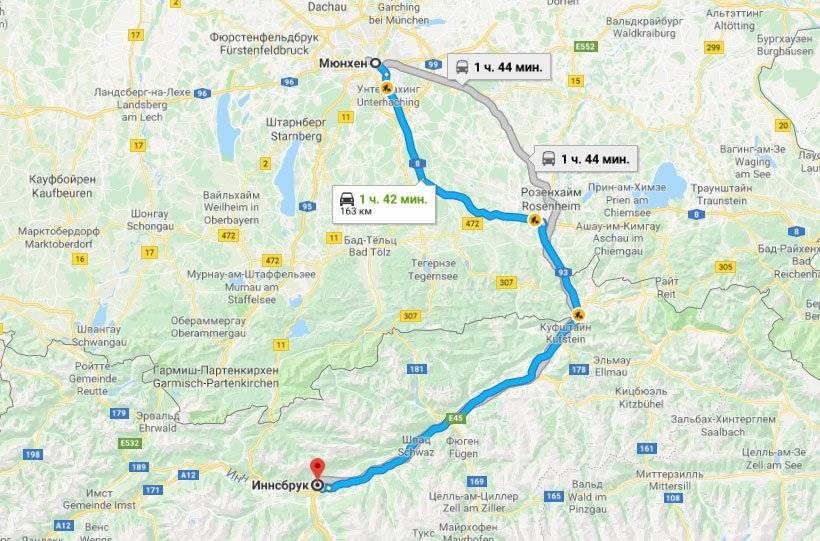 Проложенный маршрут от мюнхена до ганновера