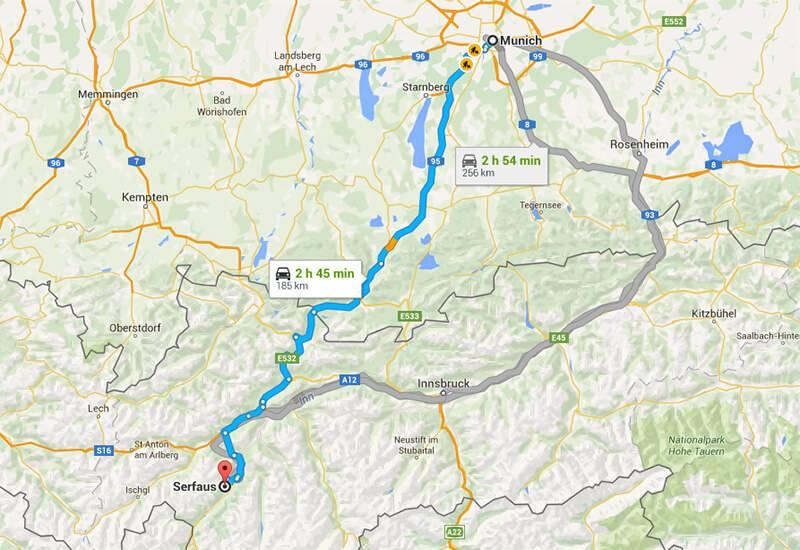 Как лучше всего добраться из Мюнхена в Ишгль