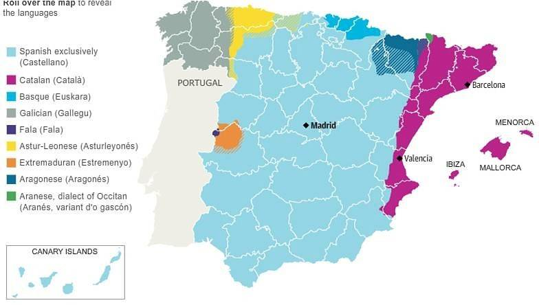 На каких языках говорят в испании?