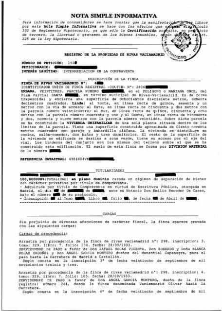 Nota simple -1300 руб. заказать нота симпле из реестра собственности испании