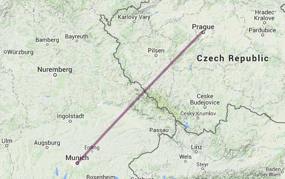 Расстояние между мюнхеном и прагой