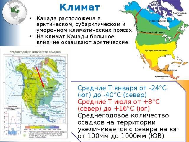 Особенности климата канады: средние температуры регионов страны