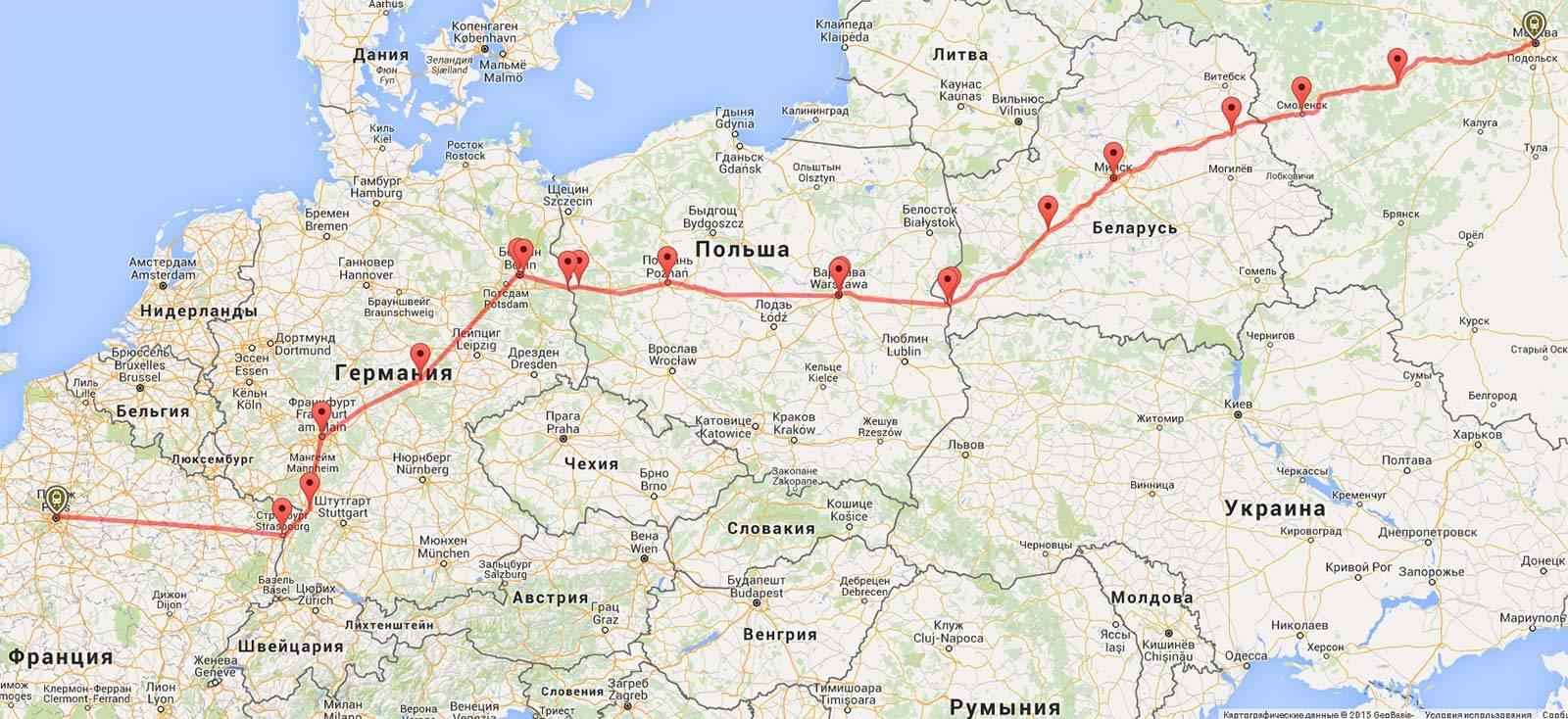 Проложенный маршрут от праги до кёльн
