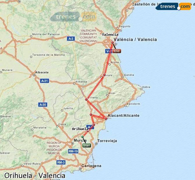Карта-схема дорог аликанте валенсия