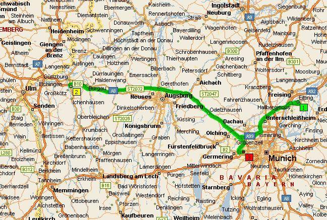 Расстояние от ганновера до мюнхена