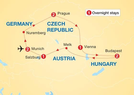 Тур «чехия  - венгрия - австрия» (10 дней) без ночных переездов