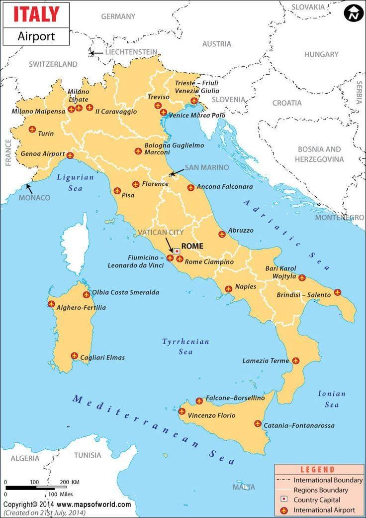 Итальянские аэропорты: описание, адреса, маршруты на карте