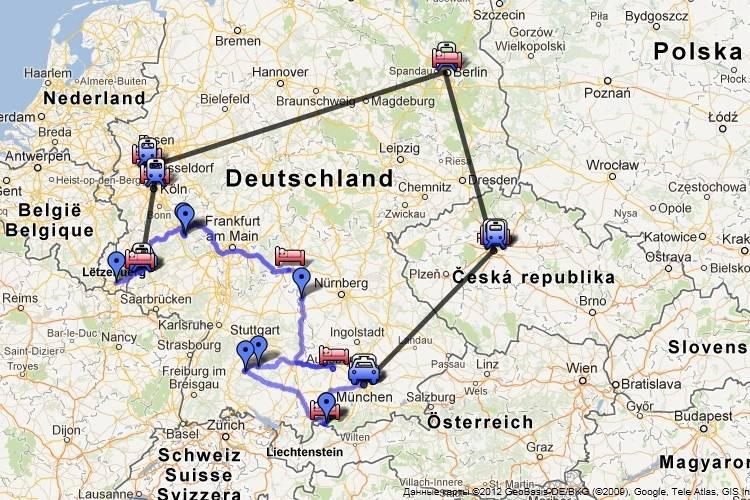 Проложенный маршрут от праги до мюнхена