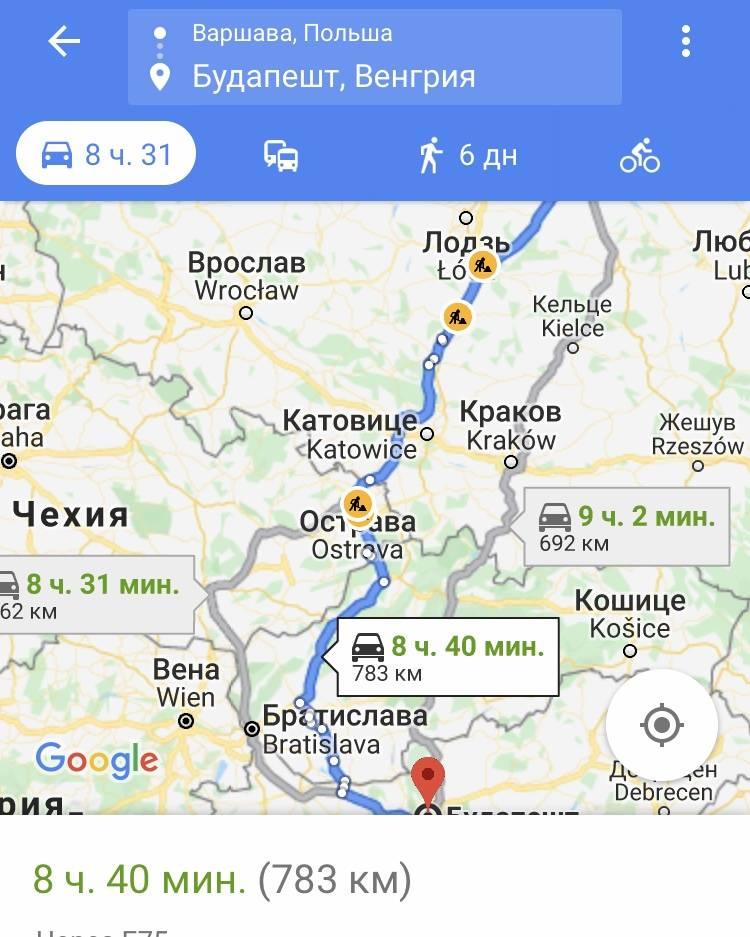 Расстояние между прагой и будапештом