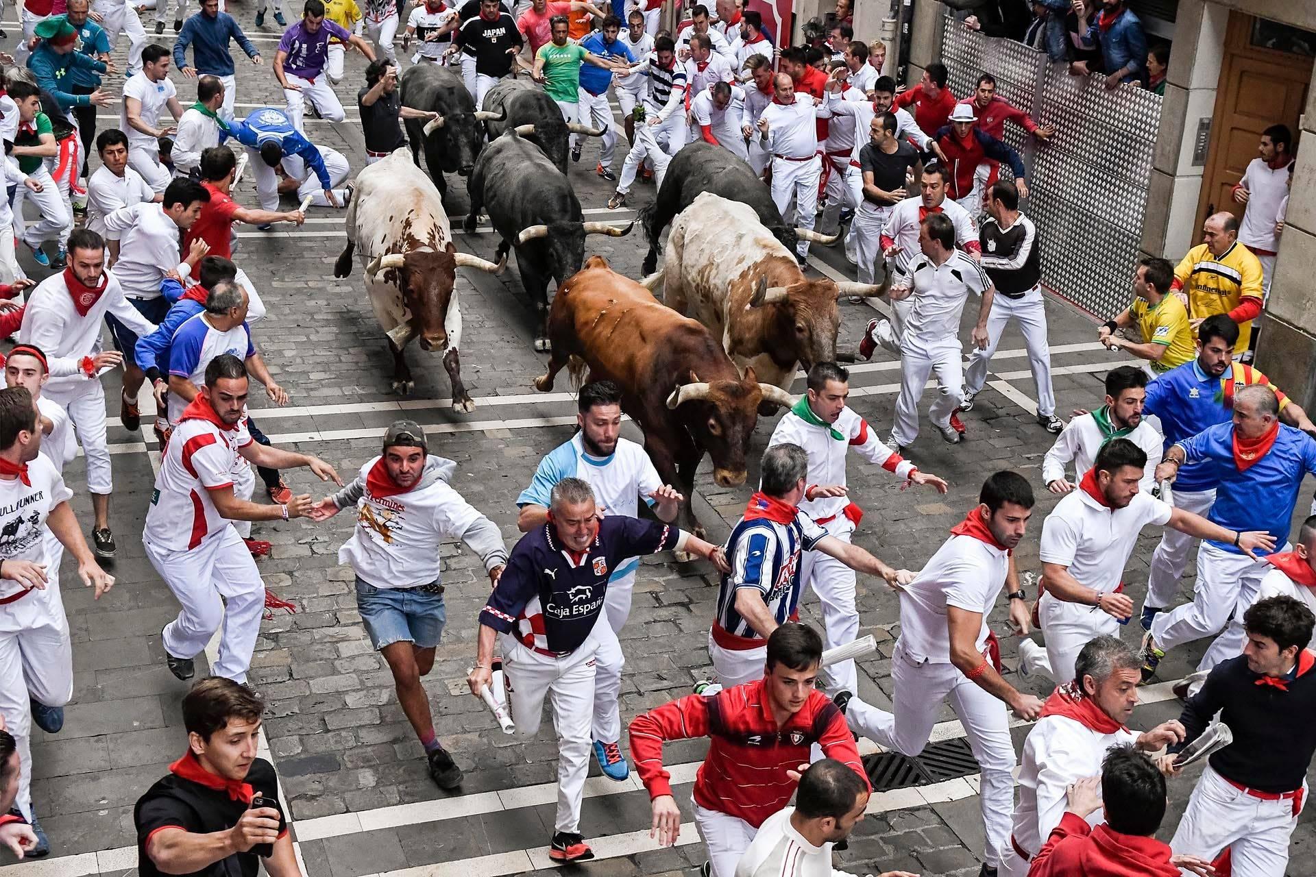 Фестиваль сан-фермин в памплоне в 2021 году: бег с быками