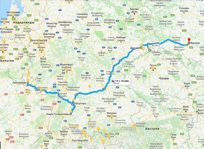Проложенный маршрут от мюнхена до дрездена
