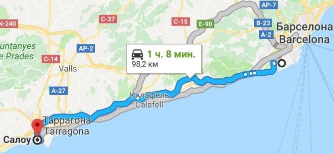 Карта-схема дорог барселона малага