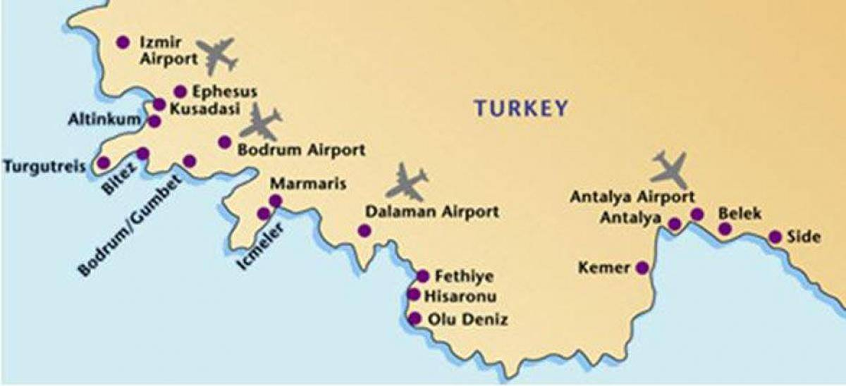Международные аэропорты турции: список, расположение на карте