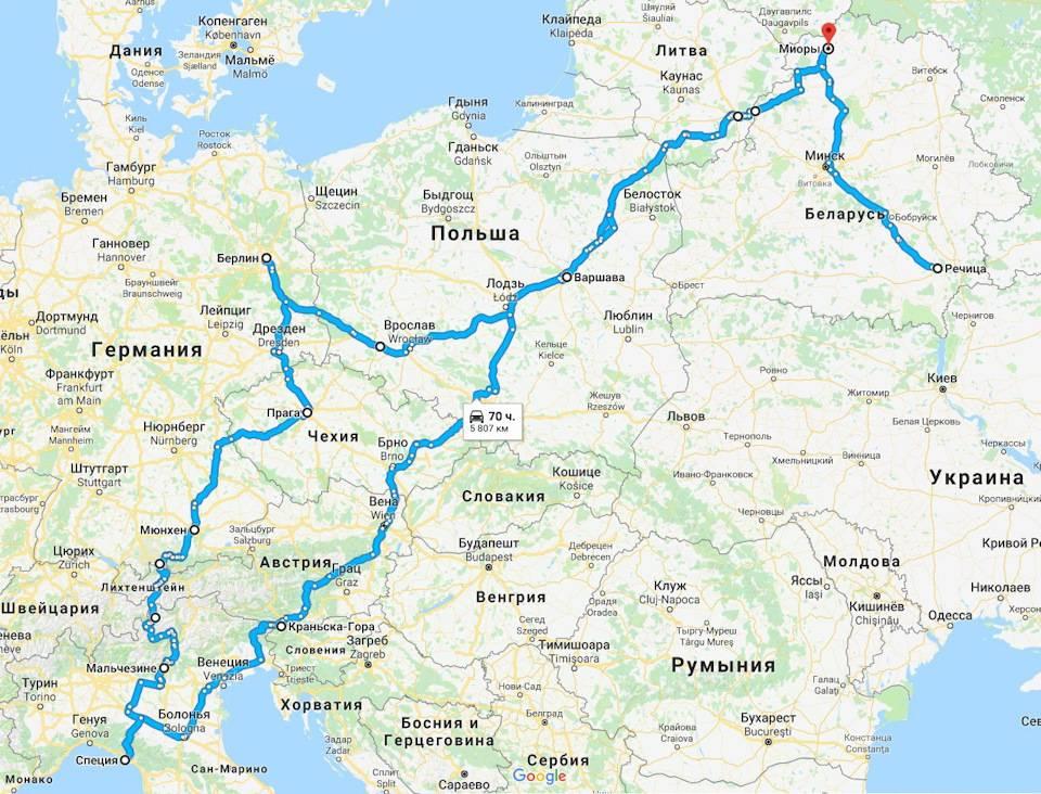 Проложенный маршрут от будапешта до венеции