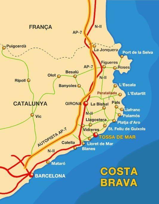 Регион коста-брава на карте испании: список достопримечательностей и городов на побережье