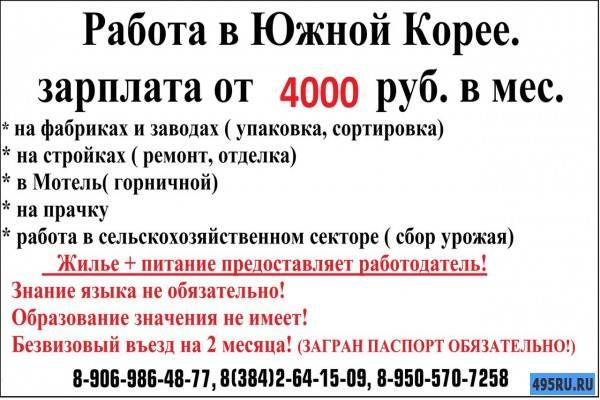 Работа в южной корее для русских, казахстанцев и украинцев в 2021 году