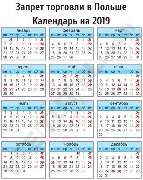 Официальные выходные, праздники и дни запрета торговли в польше в 2019 году