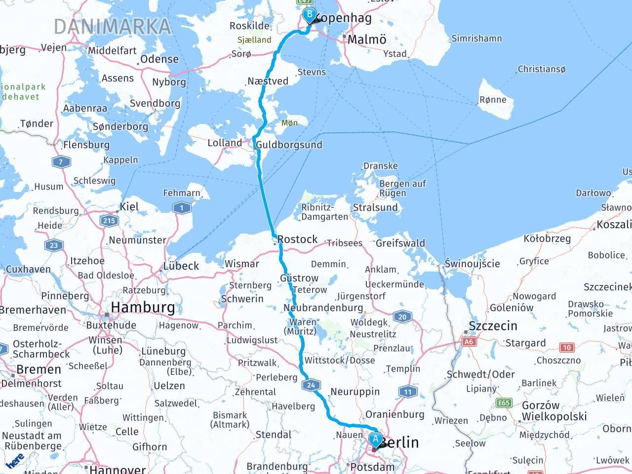 Расстояние между копенгагеном и берлином