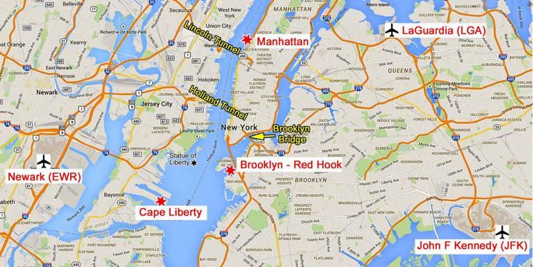 Аэропорты нью-йорка на карте | нью-йорк