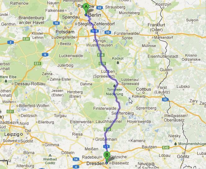 Проложенный маршрут от дрездена до мюнхена