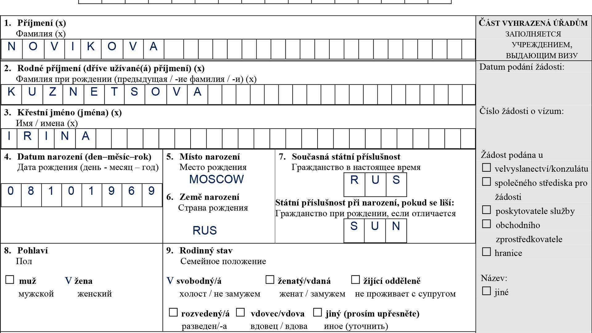Анкета на визу в чехию: пример заполнения заявление на получение шенгенской визы