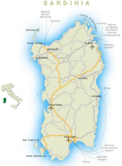 Карта италии на русском языке - где находится сардиния: паром на остров (сезон 2021)
