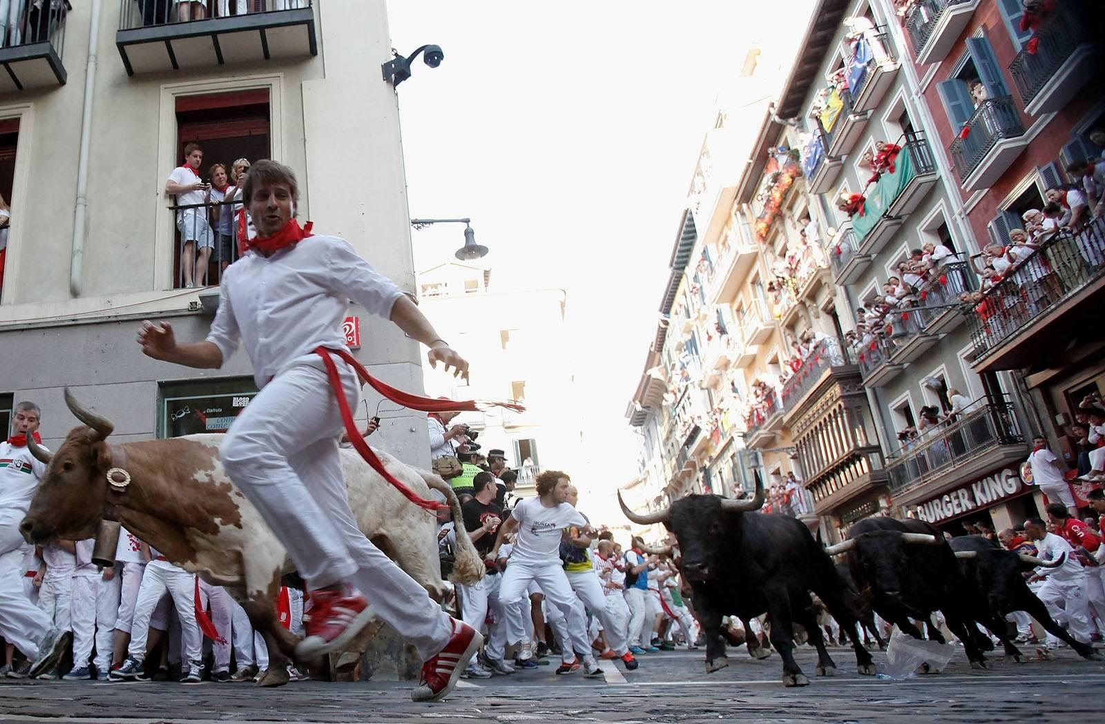 Фототелеграф » забег с быками на празднике сан-фермин, испания