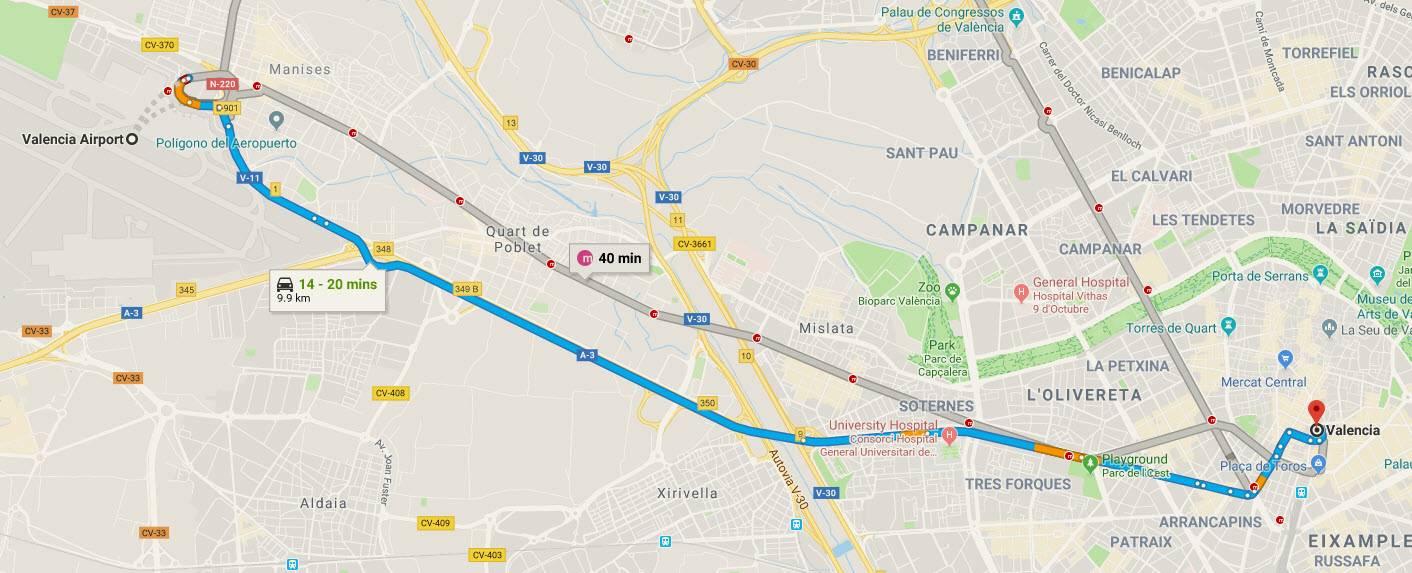 Карта-схема дорог мадрид валенсия