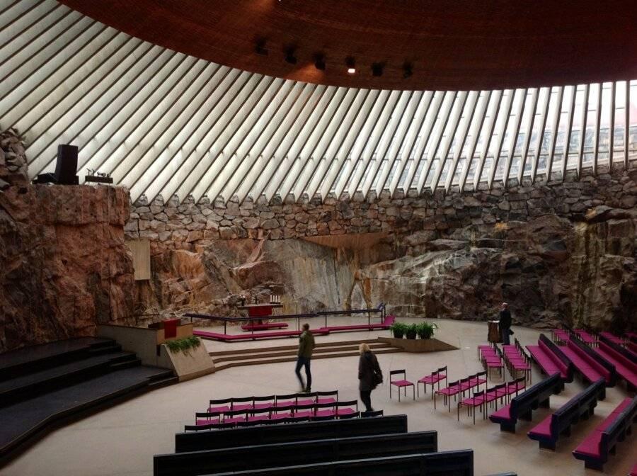 Церковь в скале в хельсинки - архитектура и фотографии интерьера храма