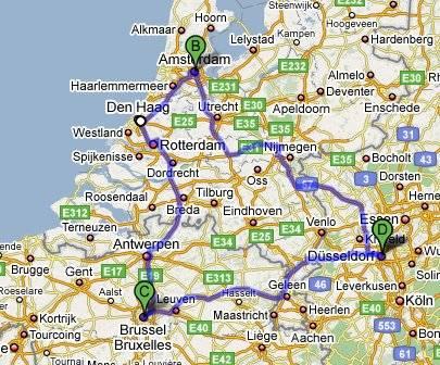 Проложенный маршрут от дюссельдорфа до амстердама