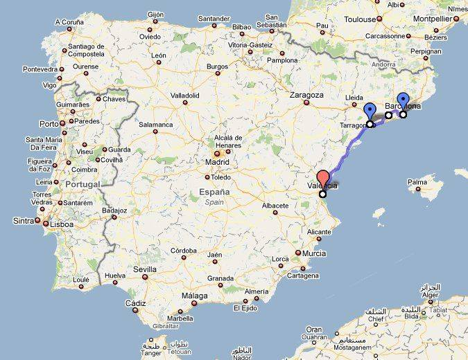 Проложенный маршрут от аликанте до валенсии