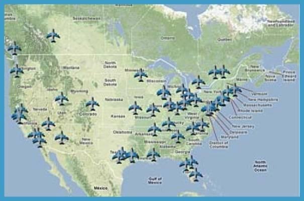 Международные аэропорты сша на карте: сколько их, количество крупнейших аэропортов